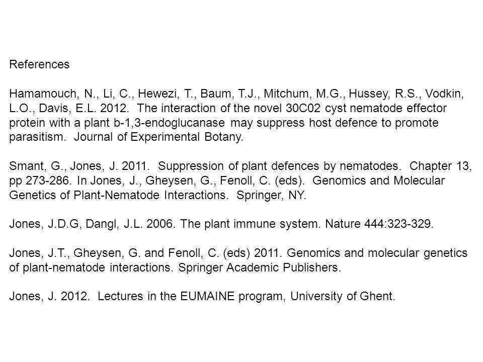 References Hamamouch, N., Li, C., Hewezi, T., Baum, T.J., Mitchum, M.G., Hussey, R.S., Vodkin, L.O., Davis, E.L. 2012. The interaction of the novel 30