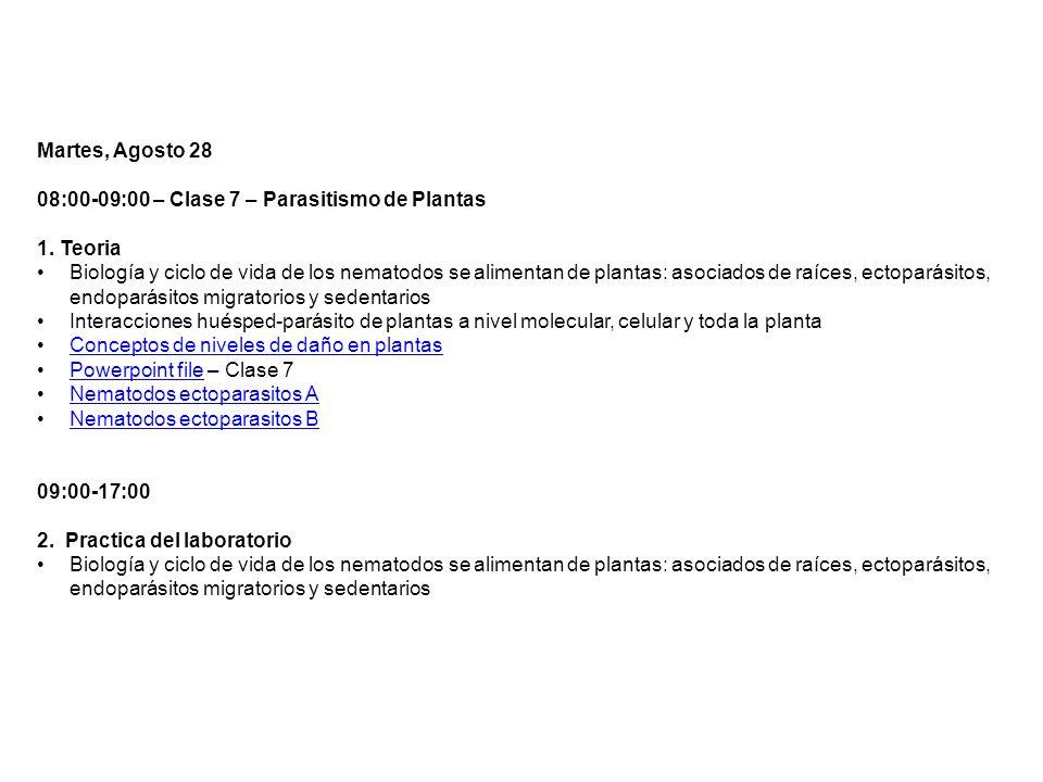 Martes, Agosto 28 08:00-09:00 – Clase 7 – Parasitismo de Plantas 1. Teoria Biología y ciclo de vida de los nematodos se alimentan de plantas: asociado