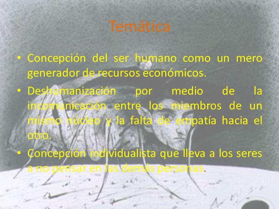 Temática Concepción del ser humano como un mero generador de recursos económicos.