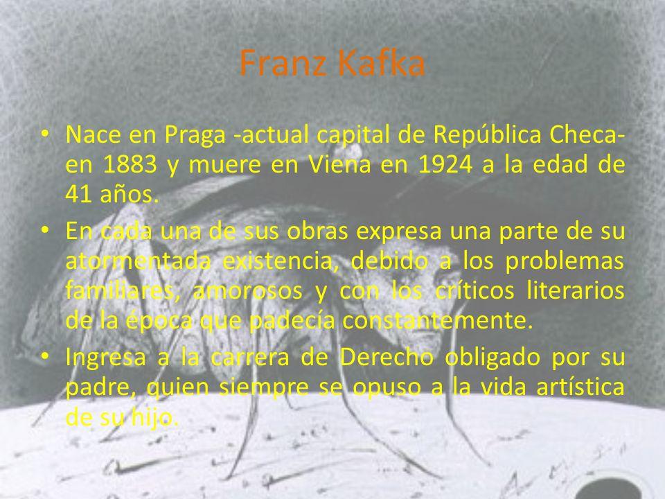 Franz Kafka Nace en Praga -actual capital de República Checa- en 1883 y muere en Viena en 1924 a la edad de 41 años.