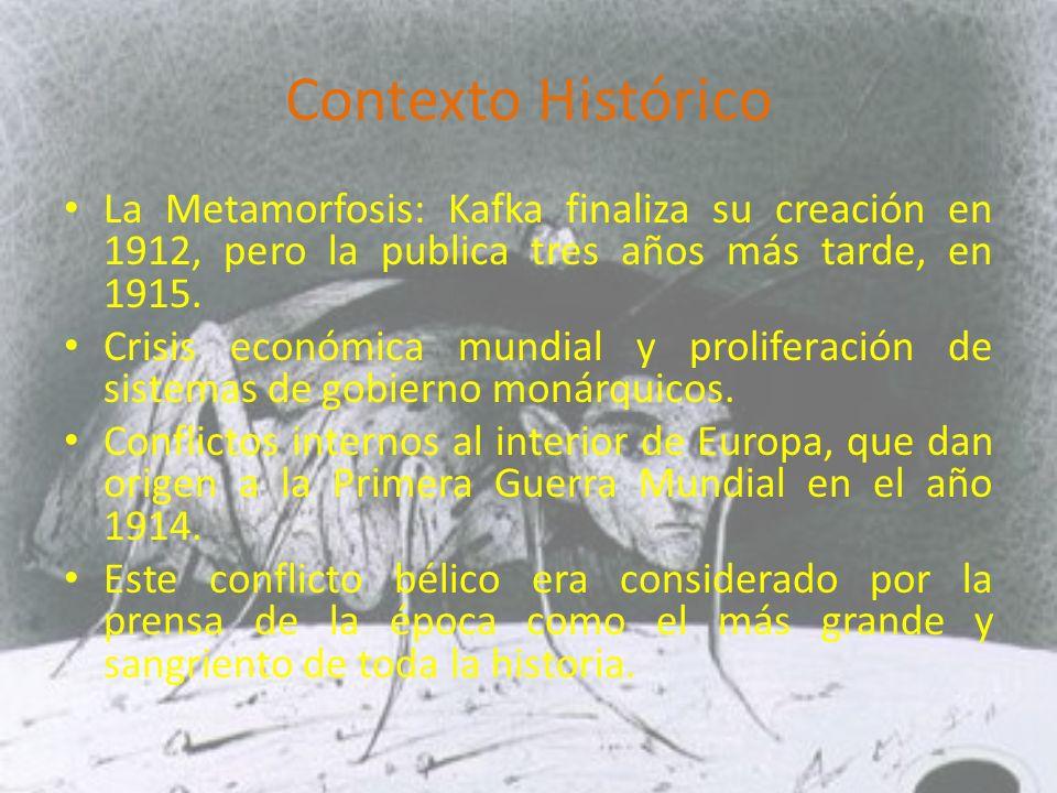 Contexto Histórico La Metamorfosis: Kafka finaliza su creación en 1912, pero la publica tres años más tarde, en 1915.