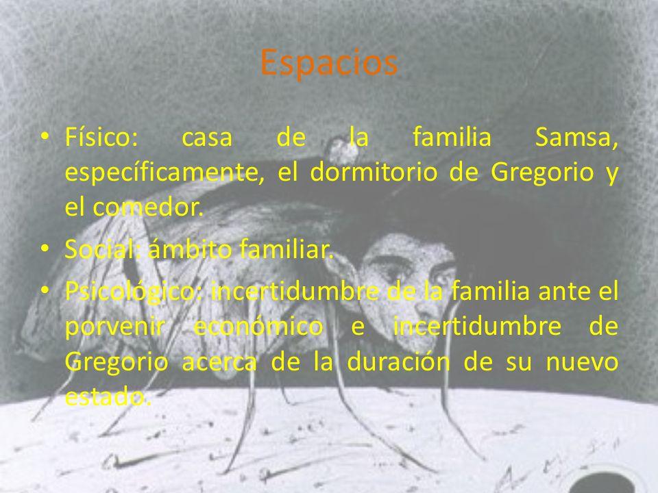 Espacios Físico: casa de la familia Samsa, específicamente, el dormitorio de Gregorio y el comedor.