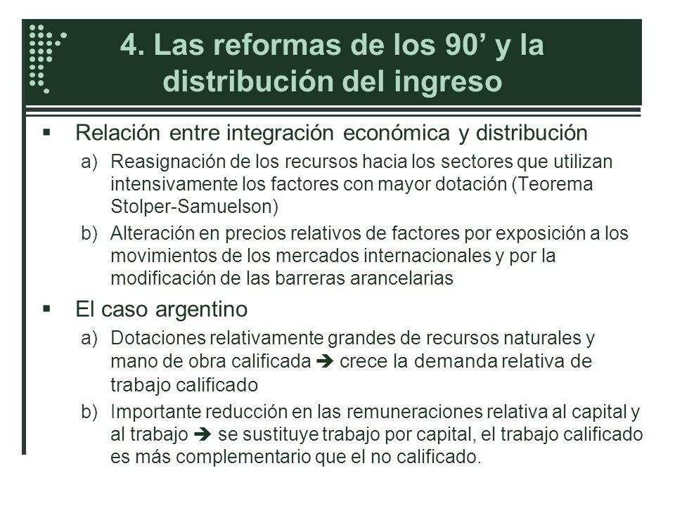 4. Las reformas de los 90 y la distribución del ingreso Relación entre integración económica y distribución a)Reasignación de los recursos hacia los s