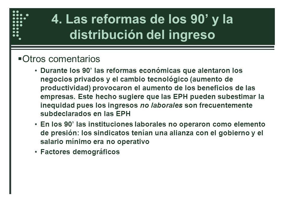 4. Las reformas de los 90 y la distribución del ingreso Otros comentarios Durante los 90 las reformas económicas que alentaron los negocios privados y
