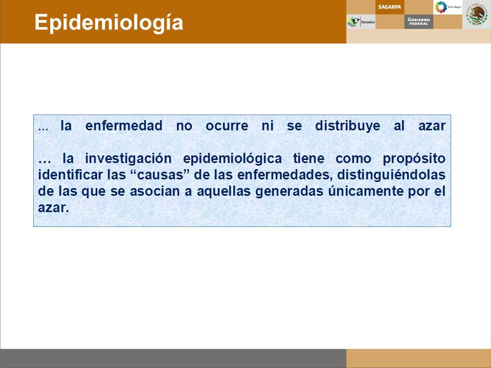 … la enfermedad no ocurre ni se distribuye al azar … la investigación epidemiológica tiene como propósito identificar las causas de las enfermedades,
