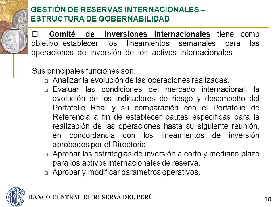 BANCO CENTRAL DE RESERVA DEL PERÚ El Comité de Inversiones Internacionales tiene como objetivo establecer los lineamientos semanales para las operacio