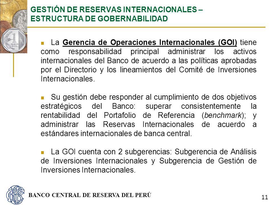 BANCO CENTRAL DE RESERVA DEL PERÚ La Gerencia de Operaciones Internacionales (GOI) tiene como responsabilidad principal administrar los activos intern