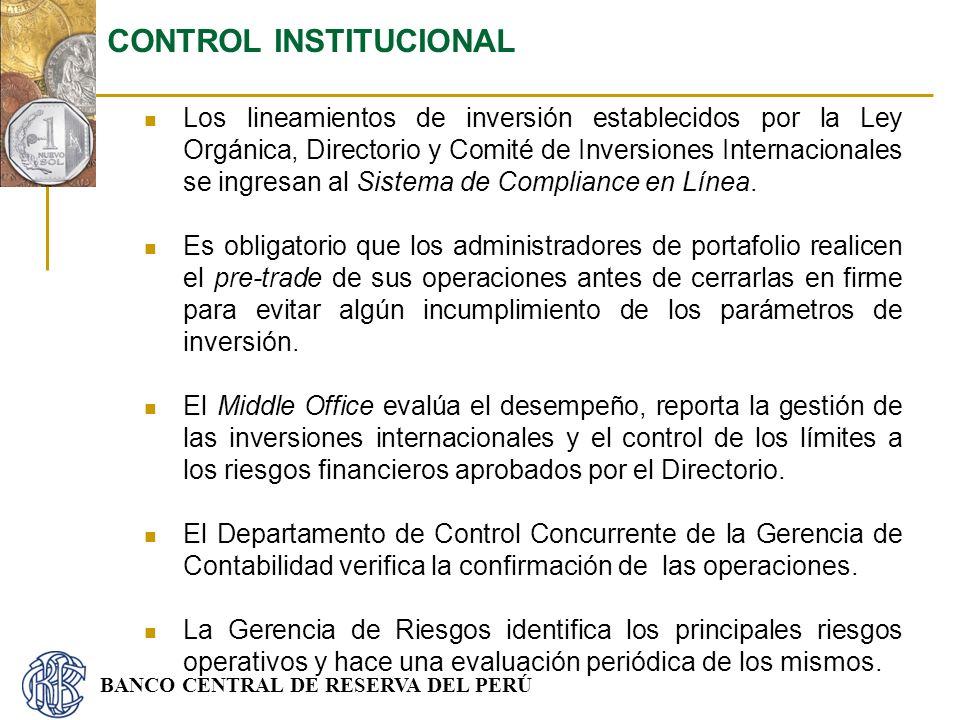 BANCO CENTRAL DE RESERVA DEL PERÚ Los lineamientos de inversión establecidos por la Ley Orgánica, Directorio y Comité de Inversiones Internacionales s