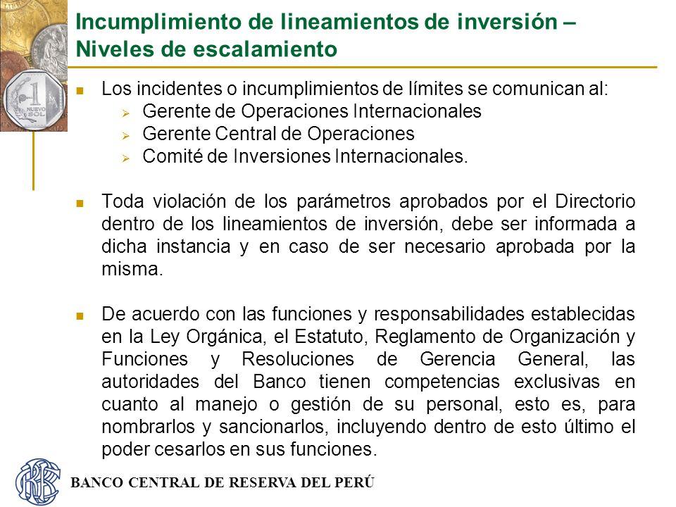 BANCO CENTRAL DE RESERVA DEL PERÚ Los incidentes o incumplimientos de límites se comunican al: Gerente de Operaciones Internacionales Gerente Central