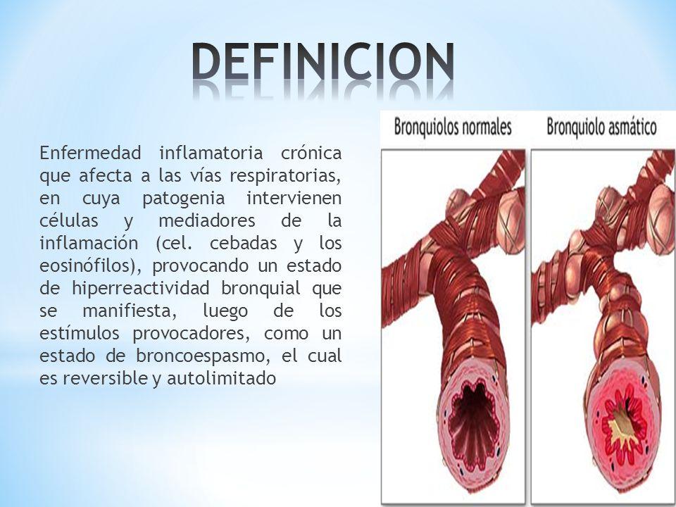 Enfermedad inflamatoria crónica que afecta a las vías respiratorias, en cuya patogenia intervienen células y mediadores de la inflamación (cel. cebada