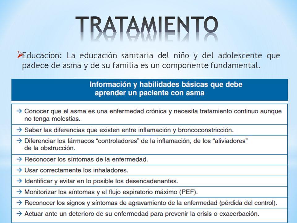 Educación: La educación sanitaria del niño y del adolescente que padece de asma y de su familia es un componente fundamental.