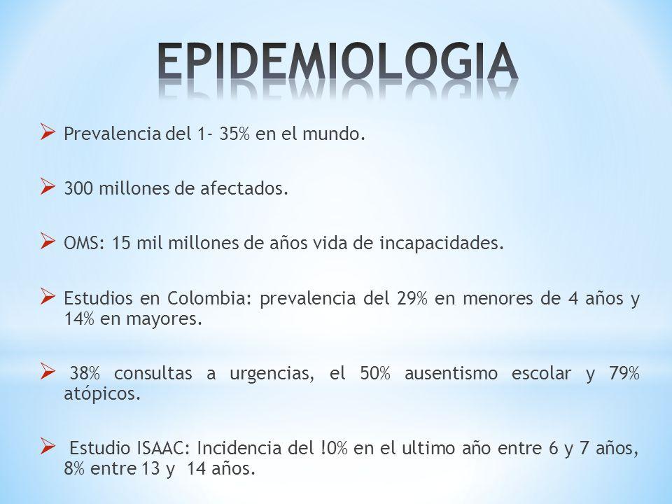 Prevalencia del 1- 35% en el mundo. 300 millones de afectados. OMS: 15 mil millones de años vida de incapacidades. Estudios en Colombia: prevalencia d