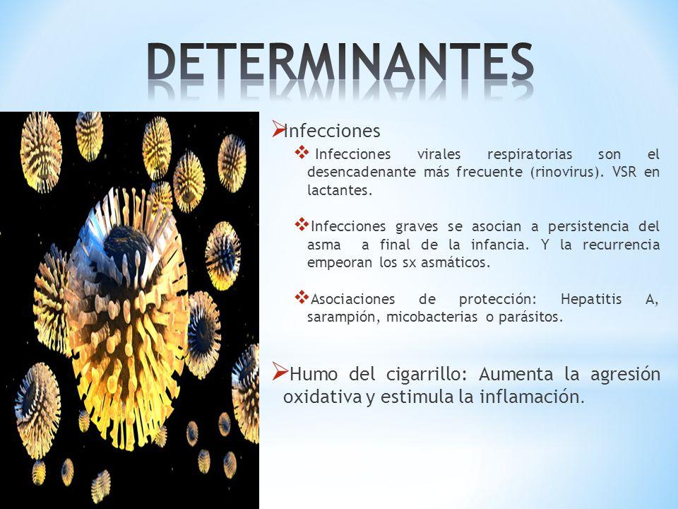 Infecciones Infecciones virales respiratorias son el desencadenante más frecuente (rinovirus). VSR en lactantes. Infecciones graves se asocian a persi