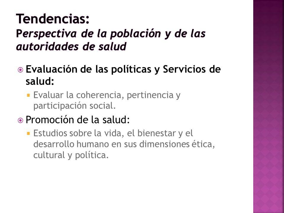 Evaluación de las políticas y Servicios de salud: Evaluar la coherencia, pertinencia y participación social. Promoción de la salud: Estudios sobre la