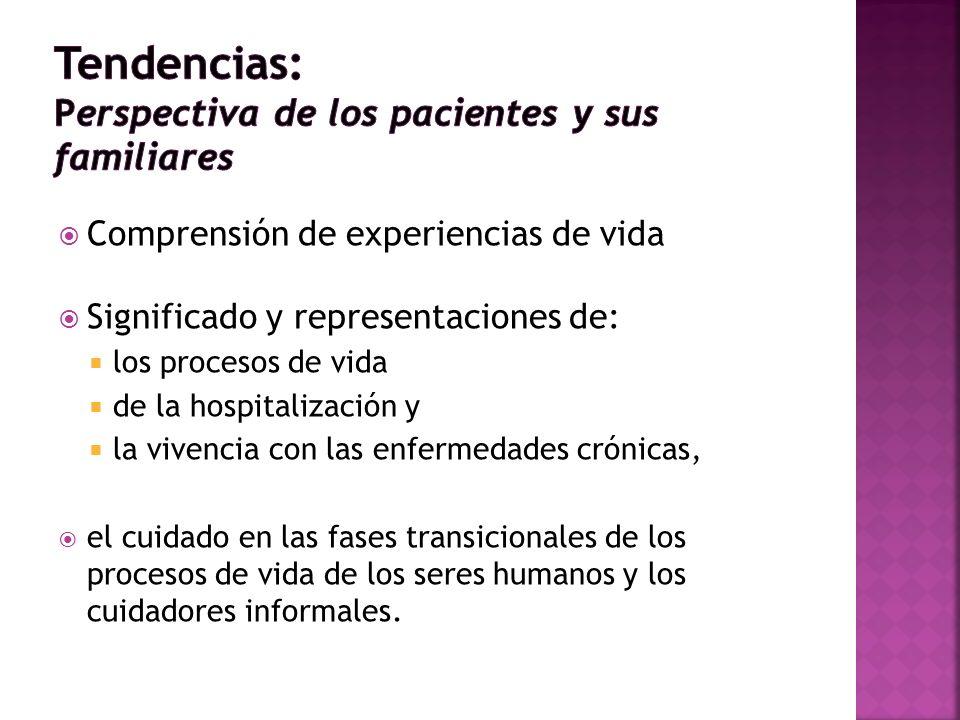Comprensión de experiencias de vida Significado y representaciones de: los procesos de vida de la hospitalización y la vivencia con las enfermedades c