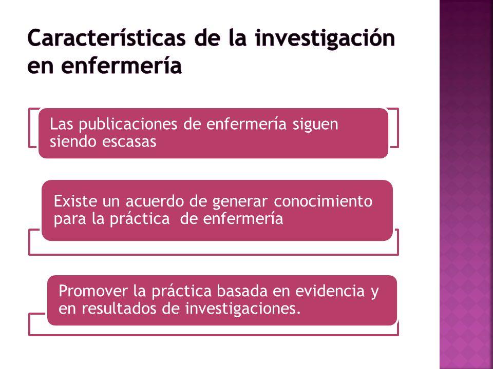 Las publicaciones de enfermería siguen siendo escasas Existe un acuerdo de generar conocimiento para la práctica de enfermería Promover la práctica ba