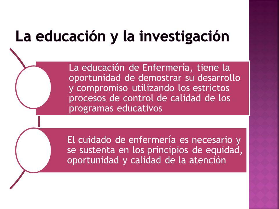 La educación de Enfermería, tiene la oportunidad de demostrar su desarrollo y compromiso utilizando los estrictos procesos de control de calidad de lo