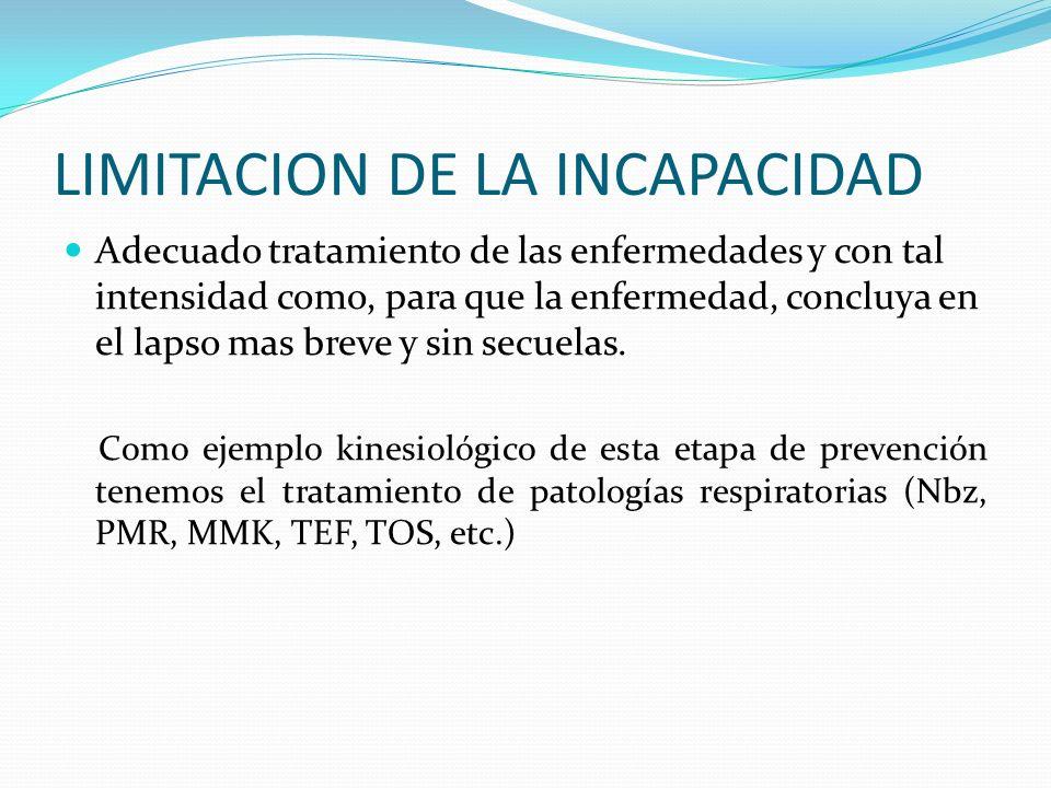 LIMITACION DE LA INCAPACIDAD Adecuado tratamiento de las enfermedades y con tal intensidad como, para que la enfermedad, concluya en el lapso mas brev
