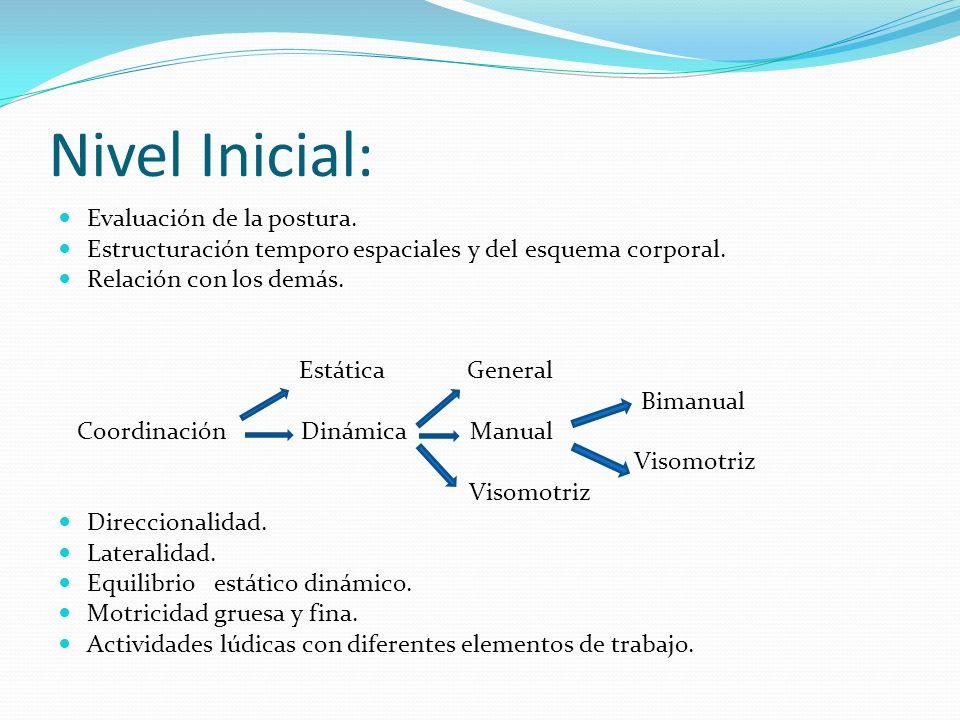 Nivel Inicial: Evaluación de la postura. Estructuración temporo espaciales y del esquema corporal. Relación con los demás. Estática General Bimanual C