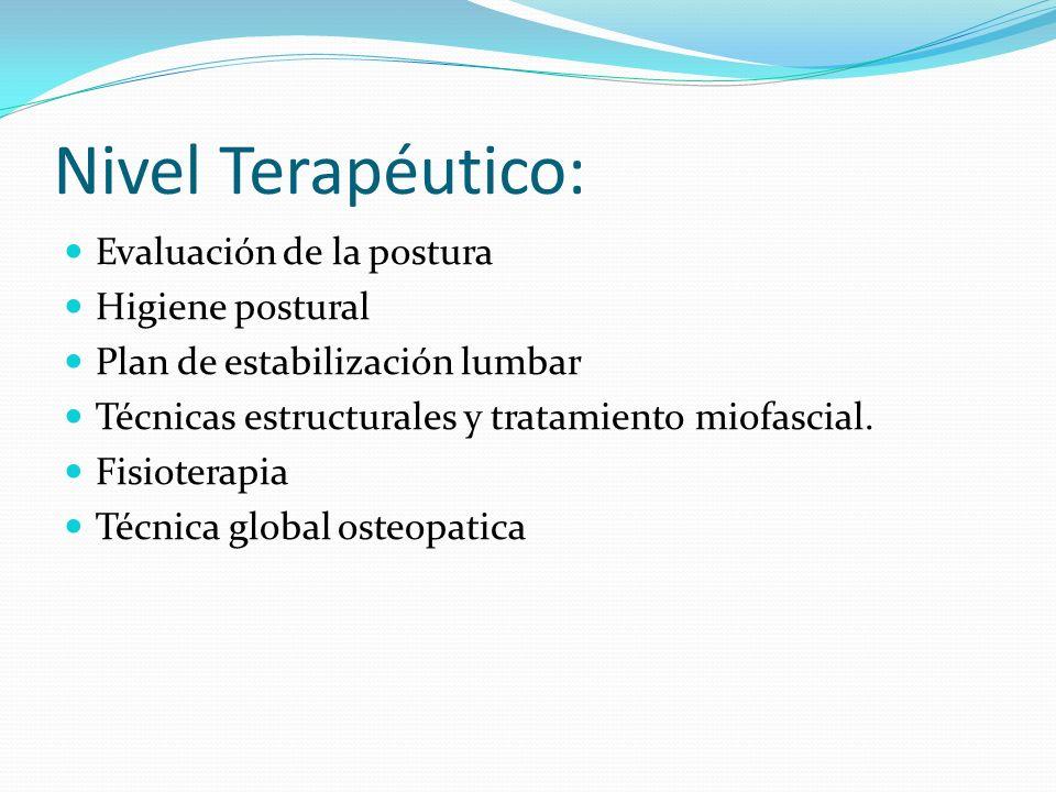 Nivel Terapéutico: Evaluación de la postura Higiene postural Plan de estabilización lumbar Técnicas estructurales y tratamiento miofascial. Fisioterap
