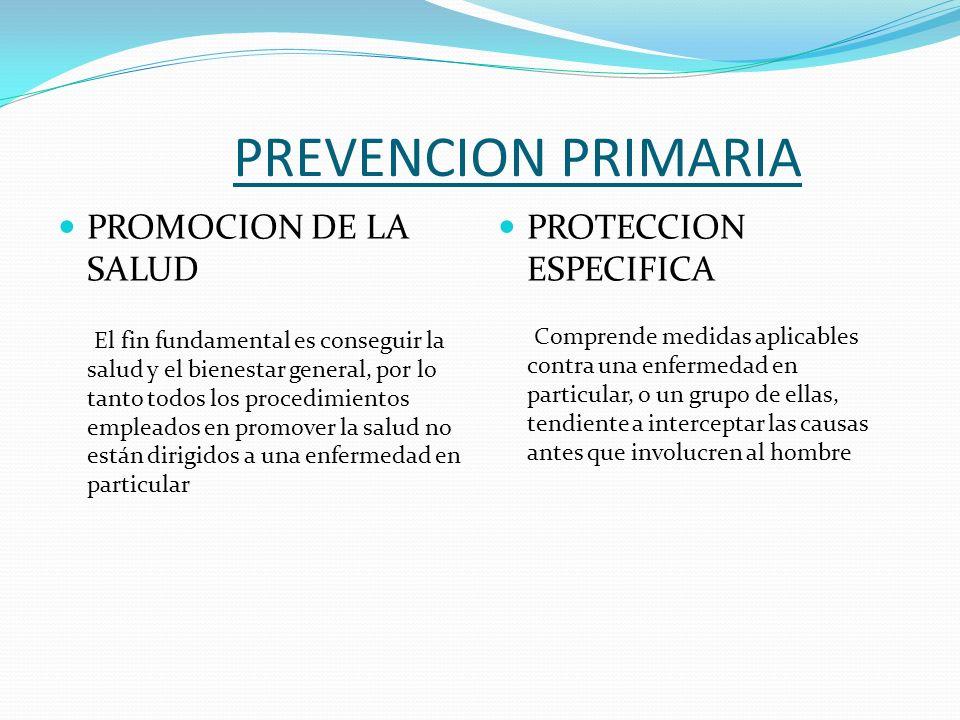 PREVENCION PRIMARIA PROMOCION DE LA SALUD El fin fundamental es conseguir la salud y el bienestar general, por lo tanto todos los procedimientos emple