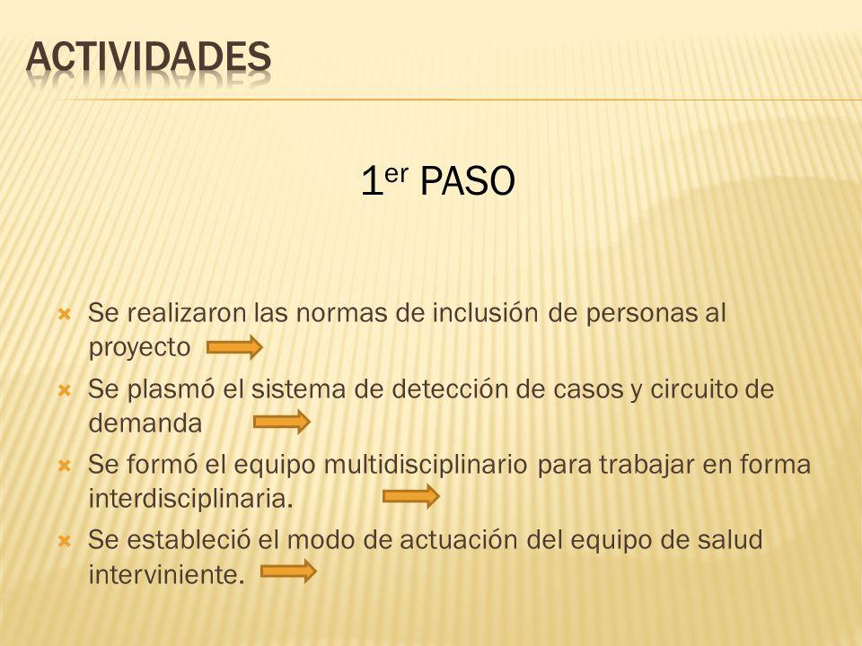 Se realizaron las normas de inclusión de personas al proyecto Se plasmó el sistema de detección de casos y circuito de demanda Se formó el equipo multidisciplinario para trabajar en forma interdisciplinaria.