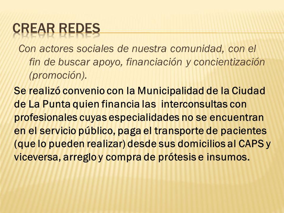 Con actores sociales de nuestra comunidad, con el fin de buscar apoyo, financiación y concientización (promoción).