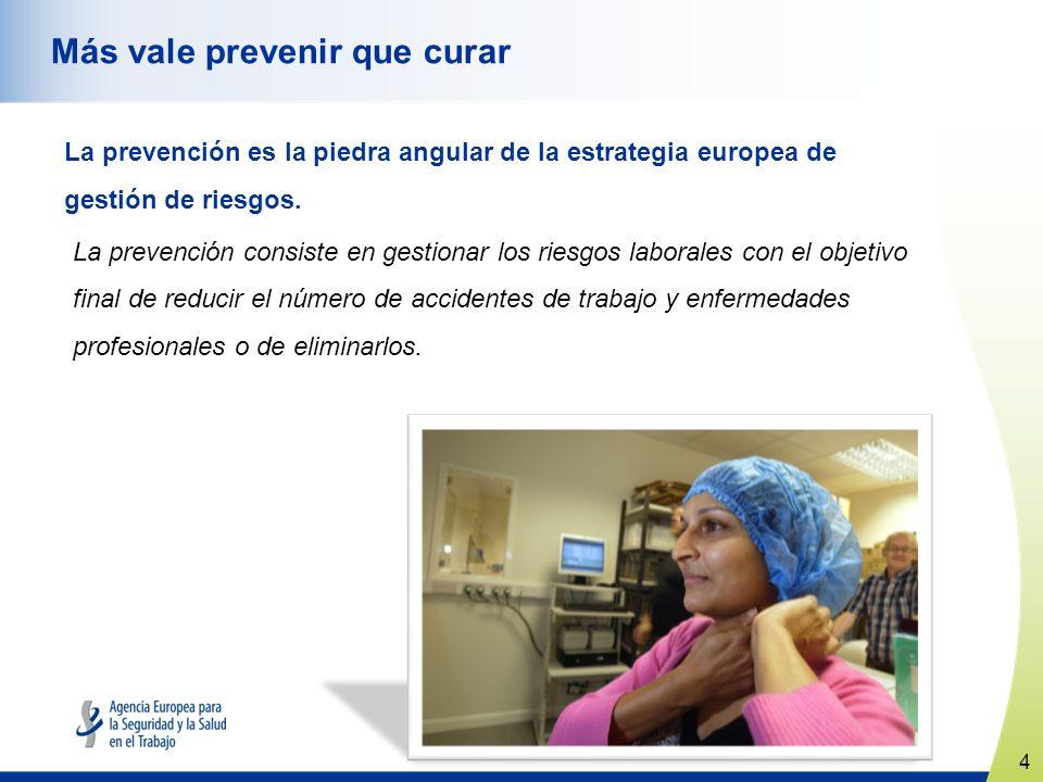 4 www.healthy-workplaces.eu Más vale prevenir que curar La prevención es la piedra angular de la estrategia europea de gestión de riesgos.