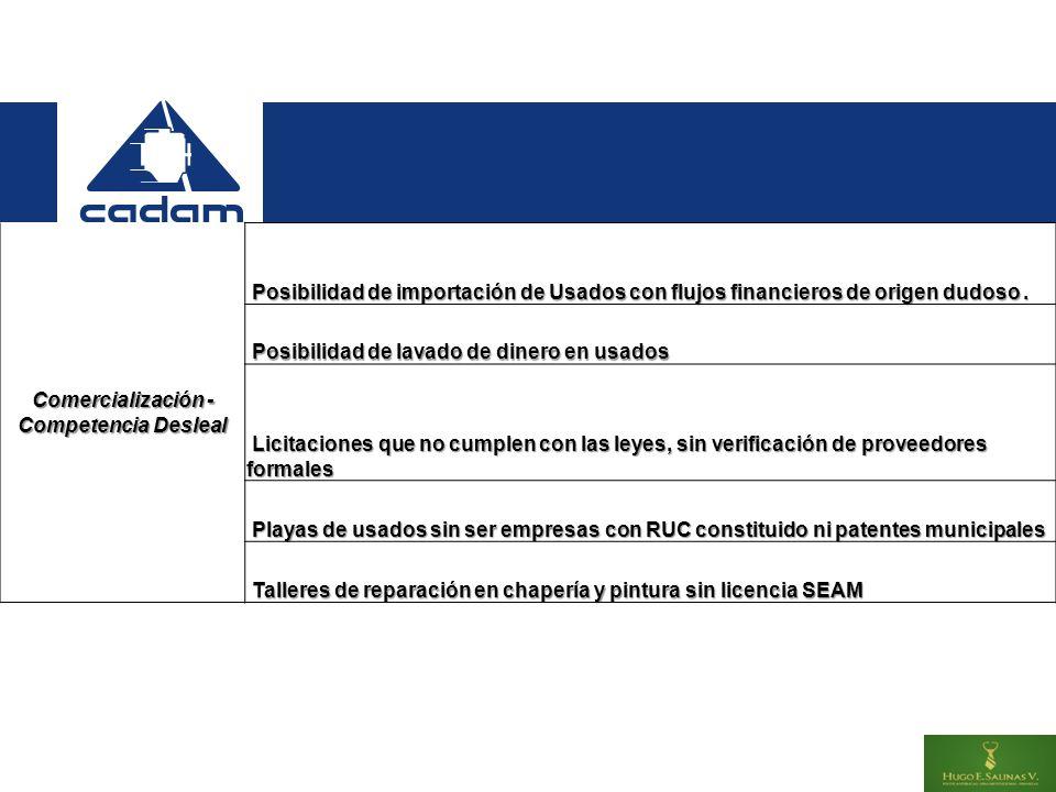 Comercialización - Competencia Desleal Posibilidad de importación de Usados con flujos financieros de origen dudoso.