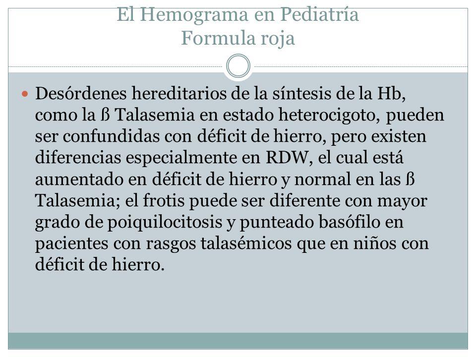El Hemograma en Pediatría Formula roja Desórdenes hereditarios de la síntesis de la Hb, como la ß Talasemia en estado heterocigoto, pueden ser confund