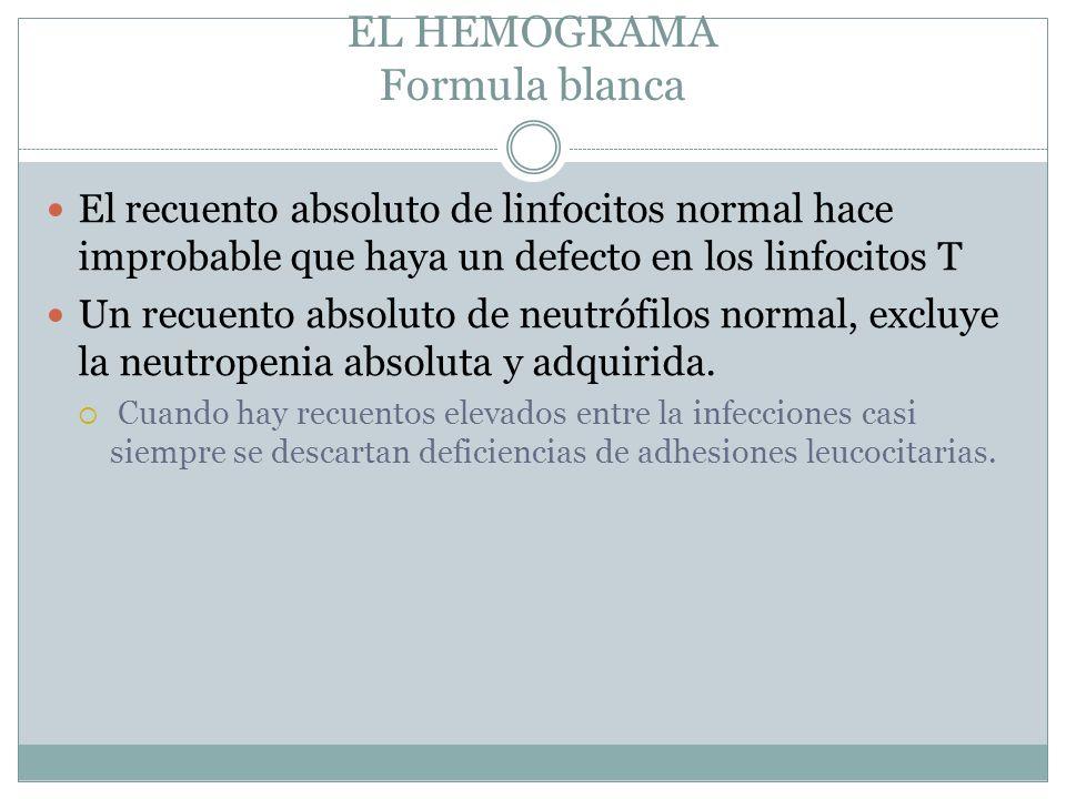 EL HEMOGRAMA Formula blanca El recuento absoluto de linfocitos normal hace improbable que haya un defecto en los linfocitos T Un recuento absoluto de