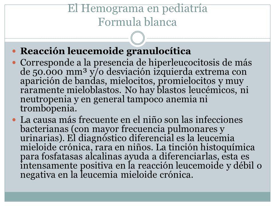 El Hemograma en pediatría Formula blanca Reacción leucemoide granulocítica Corresponde a la presencia de hiperleucocitosis de más de 50.000 mm³ y/o de