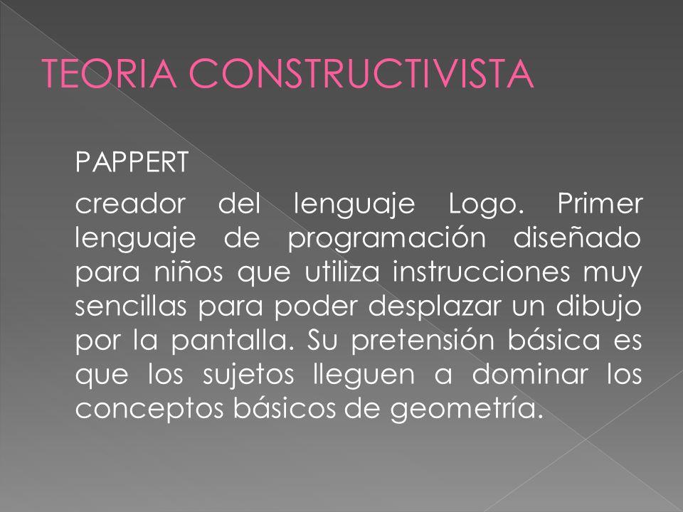 PAPPERT creador del lenguaje Logo. Primer lenguaje de programación diseñado para niños que utiliza instrucciones muy sencillas para poder desplazar un