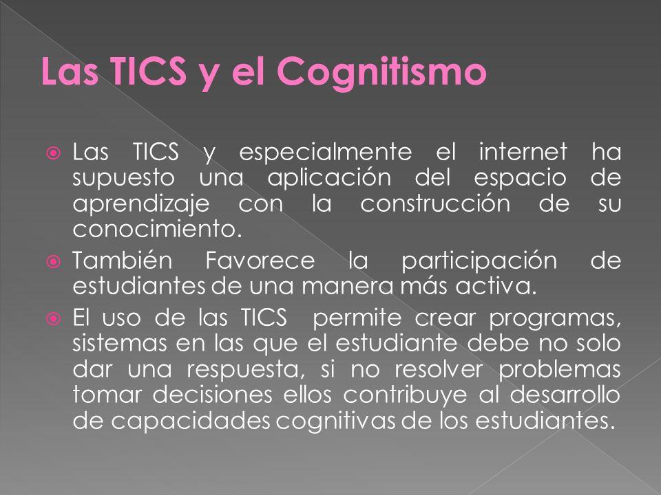 Las TICS y especialmente el internet ha supuesto una aplicación del espacio de aprendizaje con la construcción de su conocimiento. También Favorece la