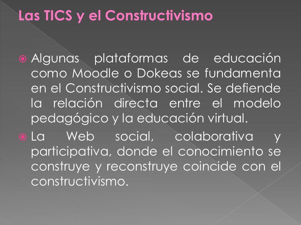 Algunas plataformas de educación como Moodle o Dokeas se fundamenta en el Constructivismo social. Se defiende la relación directa entre el modelo peda