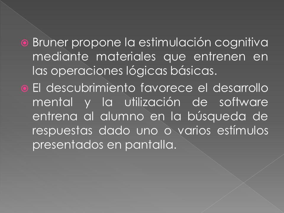 Bruner propone la estimulación cognitiva mediante materiales que entrenen en las operaciones lógicas básicas. El descubrimiento favorece el desarrollo