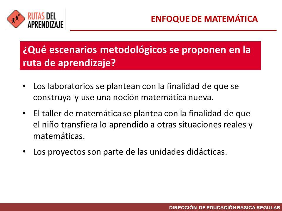 DIRECCIÓN DE EDUCACIÓN BASICA REGULAR Los laboratorios se plantean con la finalidad de que se construya y use una noción matemática nueva. El taller d