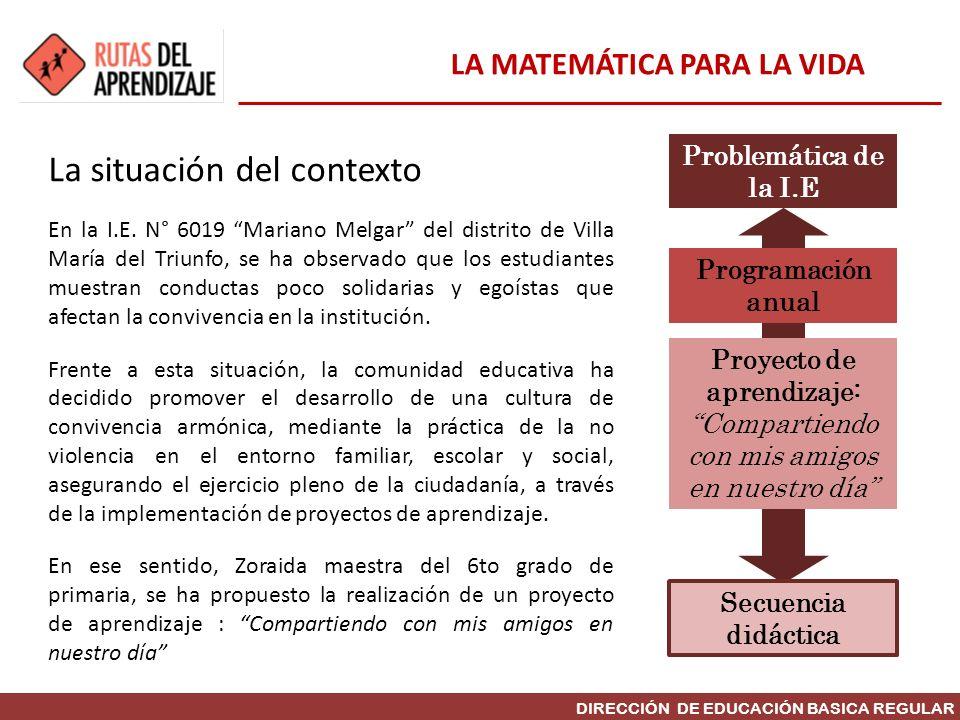 DIRECCIÓN DE EDUCACIÓN BASICA REGULAR La situación del contexto En la I.E. N° 6019 Mariano Melgar del distrito de Villa María del Triunfo, se ha obser