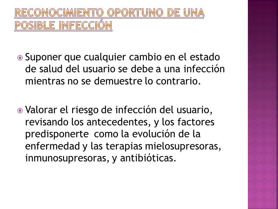 Suponer que cualquier cambio en el estado de salud del usuario se debe a una infección mientras no se demuestre lo contrario. Valorar el riesgo de inf
