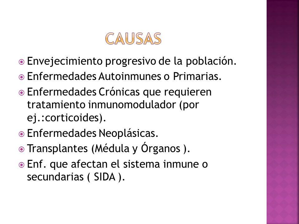 Envejecimiento progresivo de la población. Enfermedades Autoinmunes o Primarias. Enfermedades Crónicas que requieren tratamiento inmunomodulador (por