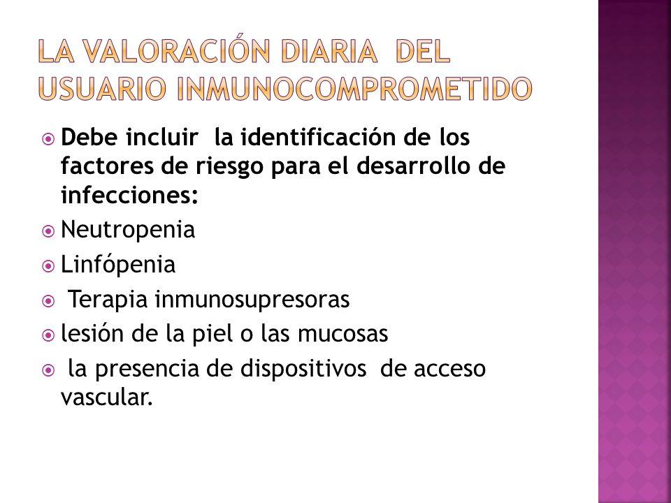Debe incluir la identificación de los factores de riesgo para el desarrollo de infecciones: Neutropenia Linfópenia Terapia inmunosupresoras lesión de