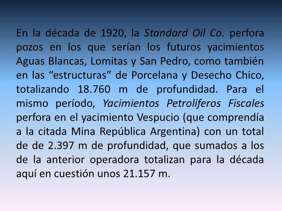 En la década de 1920, la Standard Oil Co. perfora pozos en los que serían los futuros yacimientos Aguas Blancas, Lomitas y San Pedro, como también en