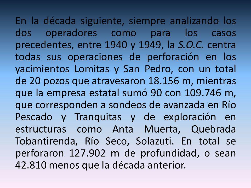 En la década siguiente, siempre analizando los dos operadores como para los casos precedentes, entre 1940 y 1949, la S.O.C. centra todas sus operacion