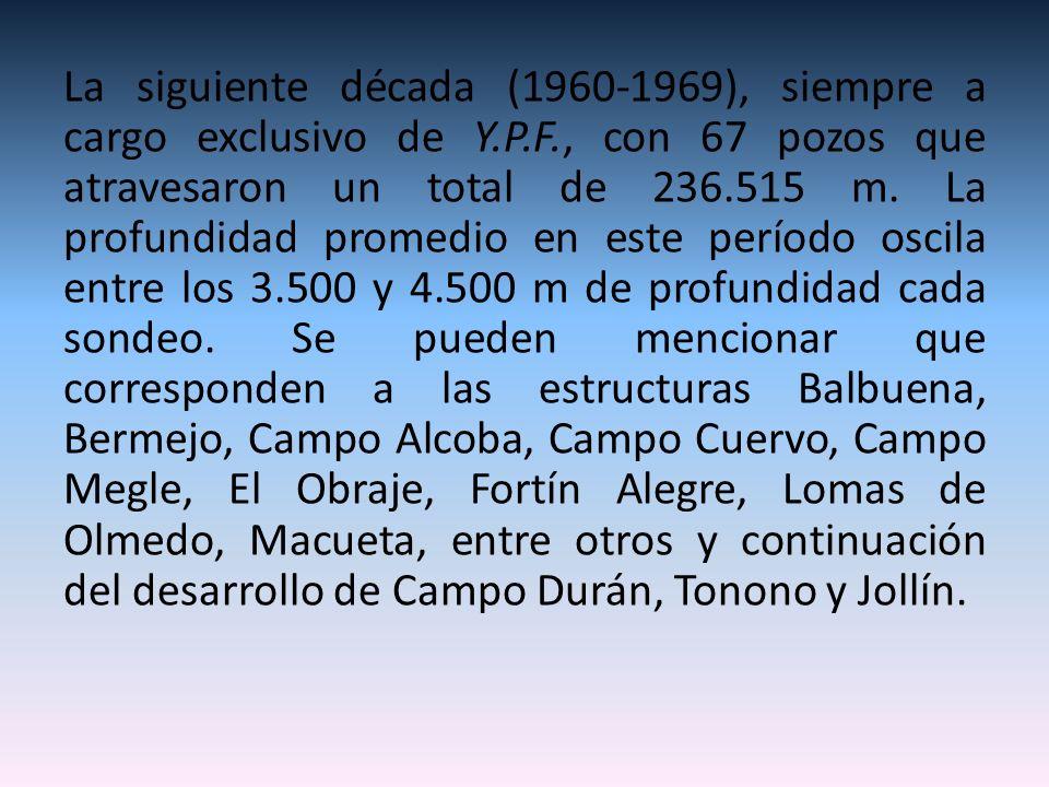 La siguiente década (1960-1969), siempre a cargo exclusivo de Y.P.F., con 67 pozos que atravesaron un total de 236.515 m. La profundidad promedio en e