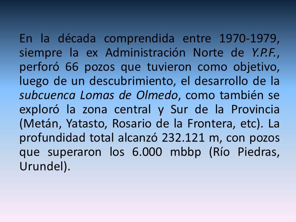 En la década comprendida entre 1970-1979, siempre la ex Administración Norte de Y.P.F., perforó 66 pozos que tuvieron como objetivo, luego de un descu