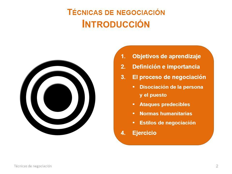1.Objetivos de aprendizaje 2.Definición e importancia 3.El proceso de negociación Disociación de la persona y el puesto Ataques predecibles Normas hum