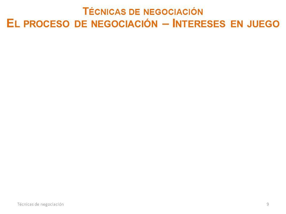 T ÉCNICAS DE NEGOCIACIÓN E L PROCESO DE NEGOCIACIÓN – I NTERESES EN JUEGO 9Técnicas de negociación