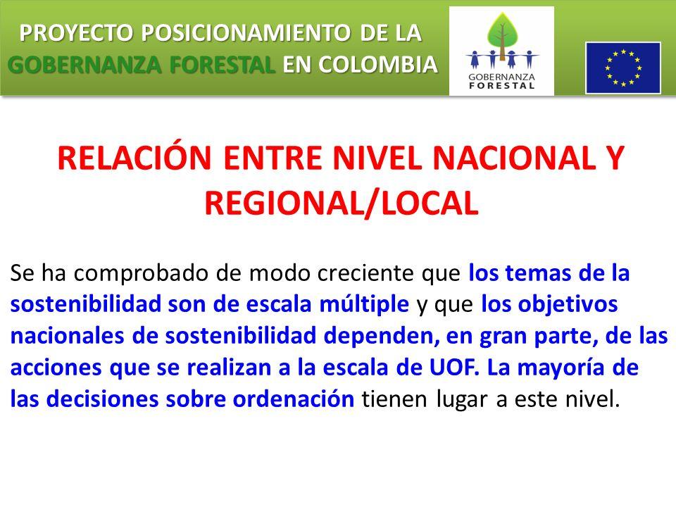 PROYECTO POSICIONAMIENTO DE LA GOBERNANZA FORESTAL EN COLOMBIA PROYECTO POSICIONAMIENTO DE LA GOBERNANZA FORESTAL EN COLOMBIA RELACIÓN ENTRE NIVEL NAC