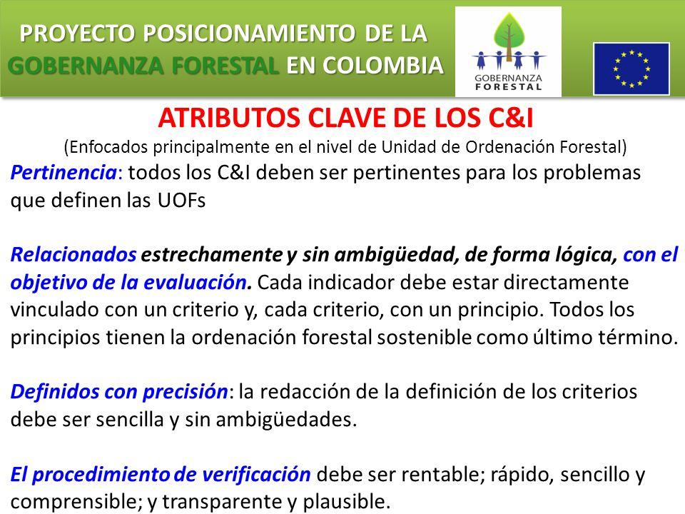 PROYECTO POSICIONAMIENTO DE LA GOBERNANZA FORESTAL EN COLOMBIA PROYECTO POSICIONAMIENTO DE LA GOBERNANZA FORESTAL EN COLOMBIA ATRIBUTOS CLAVE DE LOS C