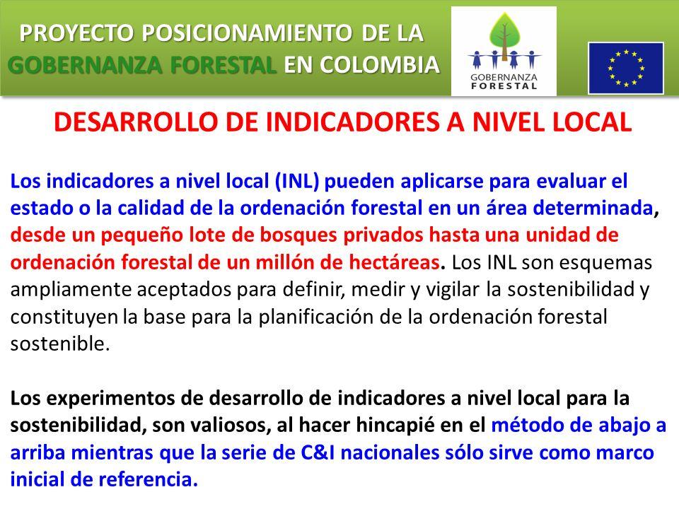 PROYECTO POSICIONAMIENTO DE LA GOBERNANZA FORESTAL EN COLOMBIA PROYECTO POSICIONAMIENTO DE LA GOBERNANZA FORESTAL EN COLOMBIA DESARROLLO DE INDICADORE